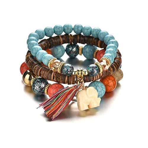 BOSAIYA Bohemio Tendencia Europea y Americana Simple Wild Wild Icono Sumu Beads 3 Capa Pulsera de Gas TL0222 (Color : Grey)
