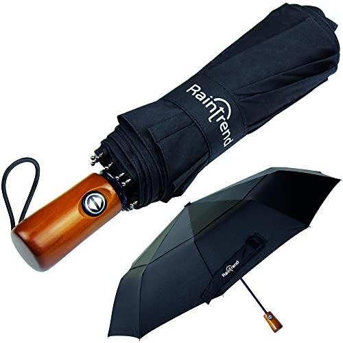 NEW Premium Large Windproof Double Canopy Umbrella for Rain - Travel Umbrella - Compact Automatic Umbrella - Folding Umbrella for Backpack - Portable Umbrella Auto - Oversized Umbrella Black Umbrella for Men and Women - Mens Umbrella Compact