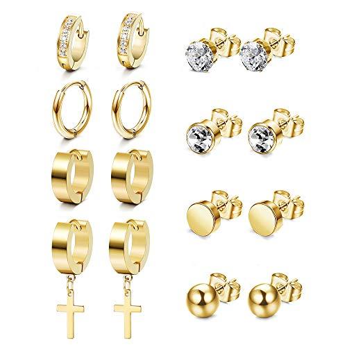 Milacolato 8pairs Stainless Steel Hoop Earrings for Women Mens Ball Cubic Zirconia Stud Earring Small Huggie Diamond Hoop Hanging Cross Studs Hoops Earrings Set Gold/Silver