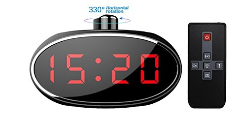 Indoor Spy Cam–Cámara espía en reloj de mesa, despertador con 330° Manuel lente giratoria, con Detector de movimiento, Hidden Cam