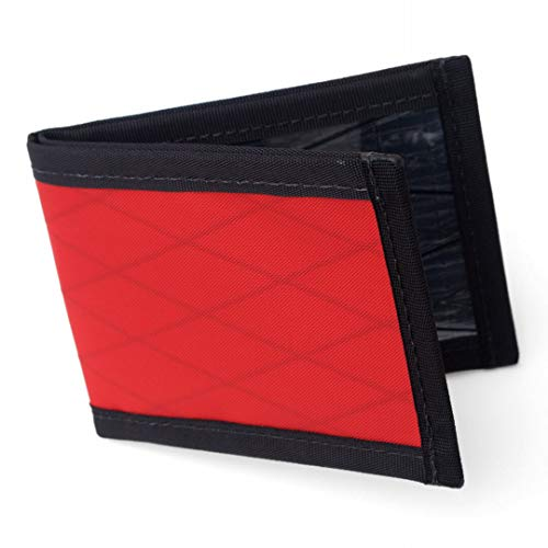 Flowfold Vanguard Slim Front Pocket Bifold Wallet - Light Weight - Minimalist - Made in the USA - Red