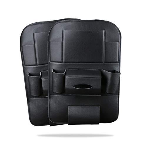"""Ergocar 2 Packs Organizzatori per auto in pelle PU, Coprisedili per schienale, Kick Mat Car per sedile posteriore con 10.1\""""per iPad/Tablet Multi tasche con scatola del tessuto - Nero"""