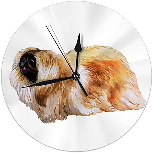 Reloj de Pared Redondo Acuarela Retrato de Primer Plano Perro de Pekín Chino Esponjoso Juguete Decorativo para el hogar, la Oficina, la Escuela 9.8 '