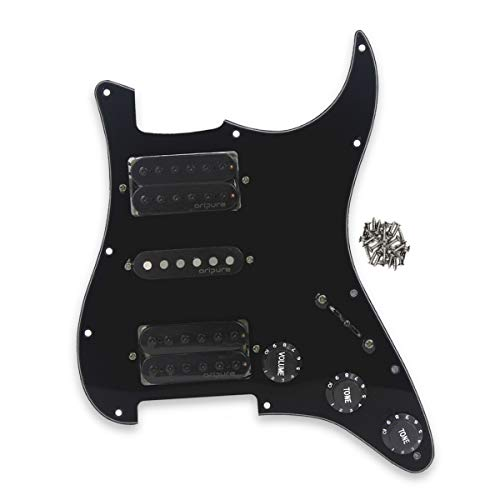 OriPure HSH Strat Pickguard with Alnico 5 Pickup Humbuckers Set Strat Loaded Pickguard Fit Standard Stratocaster Electric Guitar, 3ply Black