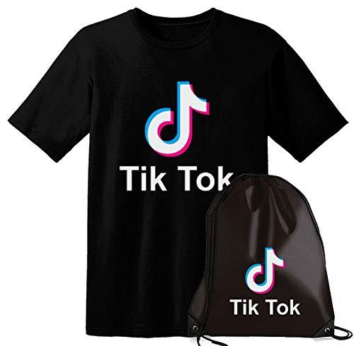 Giano Srl Tik Tok T-shirt pour adultes et enfants + sac de sport avec cordon de serrage - Noir - 9-11 ans