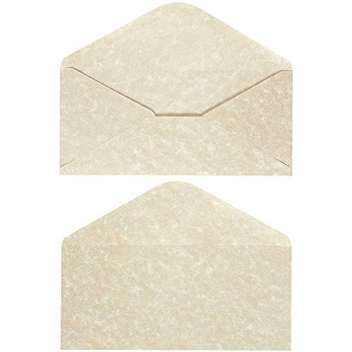 48 Pack Parchment Envelopes - Parchment Paper with Cream Old Fashion Aged Vintage Antique Design - Gum Seal Parchtone Paper Envelopes, 8.75 x 4 Inches Photo #3