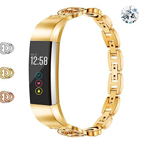 Wekin Ersatz-Armband kompatibel für Fitbit Alta und Alta HR, verstellbares Metallband für Frauen, Stahlarmband mit Strass für Alta/Alta hr, gold
