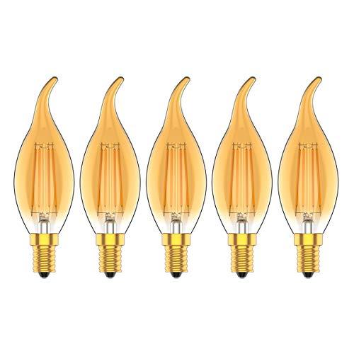 Bombillas led E14 4W, 2700k, Equivalente a 30Watt Lámpara Incandescente,Luz Blanca Cálida 2700K, 300 Lúmenes, LED vela Bombillas,No Regulable,Pack de 5