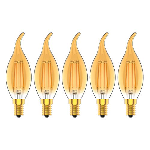 5 Stück C35 LED E14 Dimmbar Kerze Lampe 4W,LED Filament Glühlampen,Amber Glas,Warmweiß 2700K,300LM,Ersetzt 30 Watt Glühbirnen,AC 220V