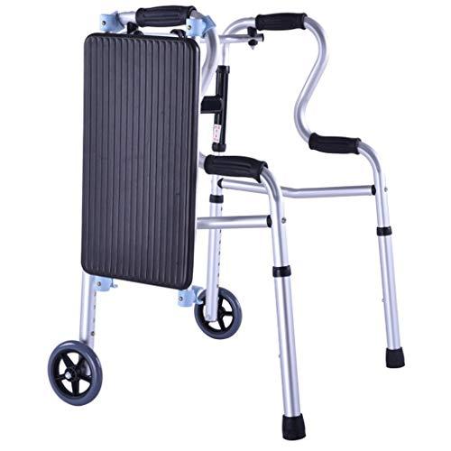WENTAO Andador Plegable con Ruedas Delanteras Aluminio Ultraligero Regulable en Altura Plegable Peso Máximo Soportado 180kg,withWheels