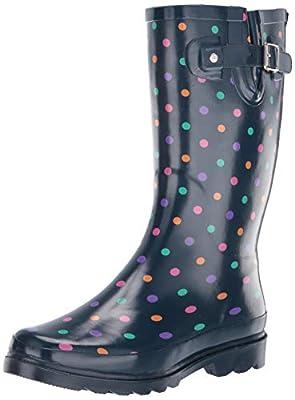 Western Chief Women's Printed Tall Waterproof Rain Boot, Simple Dot Navy, 11