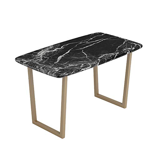 Axdwfd Bijzettafel, woonkamer, bijzettafel, marmer, tafel, gebogen metalen poten, duurzaam, waterdicht, corrosiebestendig, 120 cm x 75 cm, 60 cm