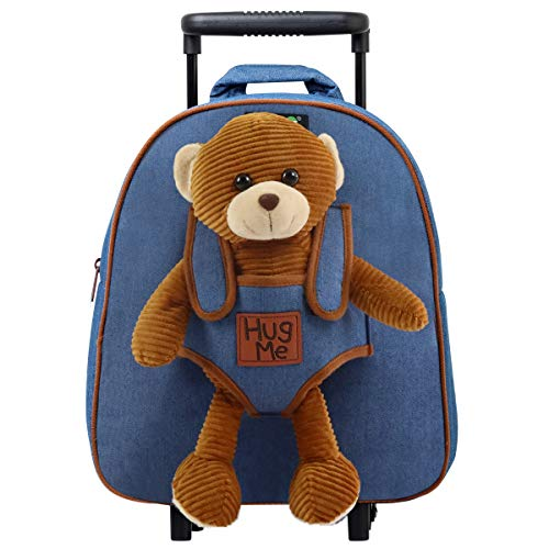COOLDOT Plush Rolling Backpack with Stuffed Animal Toy and Removable Wheels - Adorable...