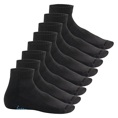 Footstar Damen & Herren Kurzschaft Socken mit Frottee-Sohle (8 Paar) - Sneak it! - Schwarz 43-46