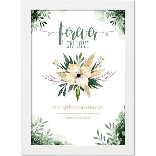 Personalisiertes Poster, forever IN LOVE, Größe 21x30 cm, BILD MIT RAHMEN (weiß) Geschenk für Sie oder Ihn zum Hochzeitstag, Valentinstag, Jahrestag oder als Liebeserklärung