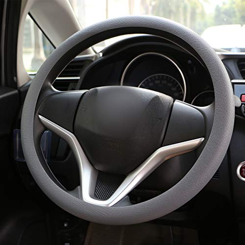 Wittyware - Funda para volante de silicona suave, antideslizante, para coche, furgoneta, camión, universal, 38 ~ 40 cm, color gris