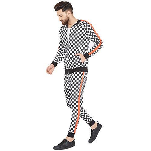 FUGAZEE Men's Checkered Print Taped Combo Jogsuit