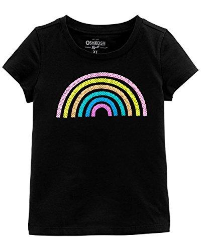 Osh Kosh Girls' Toddler Sequin Short-Sleeve T-Shirt, Black Rainbow, 2T