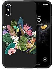 Oihxse Case Compatible coniPhone XR Funda Silicona Matorral TPU Suave Protector Carcasa Ultra Delgada Moda Linda Patrón Anti-Rasguño Caso Bumper Cover(Negro-Loro)