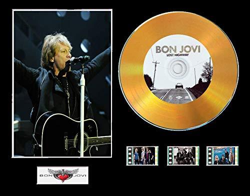 Bon Jovi CD-Display mit Vinyleffekt, Schwarz oder Gold, mit 3 Filmzellen (Goldene Scheibe, Lost Highway gerahmt)