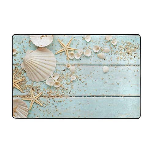Seashell Pebbles Starfish Bathroom Rugs Bath Mat Carpet Non Slip Machine Washable Soft Absorbent 36 x 24 Inches
