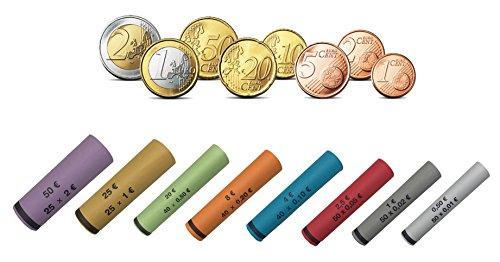 BETEC 3701 Münzhülsen - Münzrollenpapier gemischt von 1 Cent bis 2 Euro (119er Pack) A