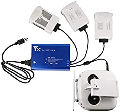 Hanatora 4 in 1 Rapid Multi Battery Charger with Ground for DJI Phantom 4/4 Advanced/4 Pro V2.0/4 Pro Plus Obsidian Drone&Remote Controller,Parallel Charging hub for Phantom 4 Series