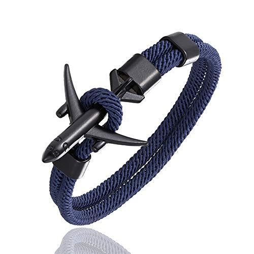 QIULING Pulsera Ancla Moda AvióN Ancla Pulseras Hombres Encanto Cuerda Cadena Pulsera Hombre Mujer Estilo Abrigo Metal Deporte Gancho(Azul Oscuro,19cm)