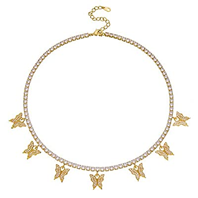 Butterfly Necklace Tennis Chain Butterfly Choker Bling Iced CZ Butterfly Necklace Gold Women (16, 3mm-gold)
