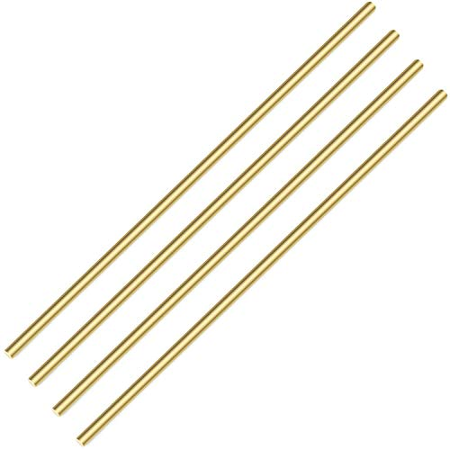 Sutemribor Brass Solid Round Rod Lathe Bar Stock, 3/16 Inch in Diameter 14 Inches in Length (4 PCS)