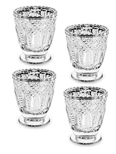 Feste Feiern Teelichthalter Venezia 4er-Set Glas 8x7cm Klarglas Kerzenhalter Windlicht Dekoration Tafel edle Tischdeko Advent