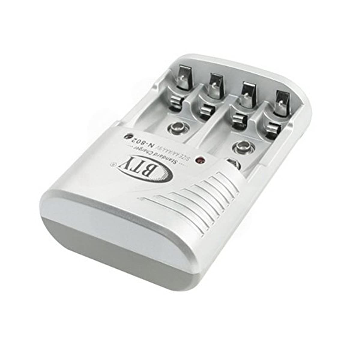 AC100-240V US Plug White Rectangle AA AAA 6F22 Battery Charger BTY 802 by Ucland