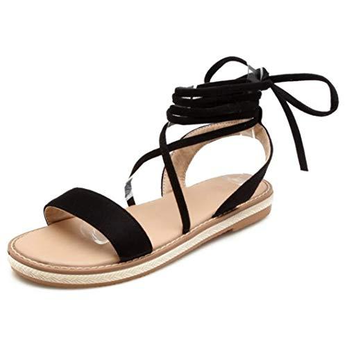 Frauen-Sommer schnüren Sich Oben Ebenen-Bonbon-offene Zehen-Plattform-Strand beschuht bequemes Schuhwerk-Damen-einfache beiläufige Sandelholze