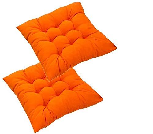 MGE Juego de 2 cojines para silla, cojines de mimbre engrosados, cojines de asiento para exteriores, con lazos para sillas de comedor, hogar, cocina, jardín, patio, cojín (color naranja)