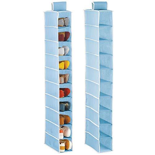 mDesign Set da 2 portascarpe da Appendere – Pratica scarpiera e Organizer Armadio con 10 Scomparti – Funzionale scaffale per Scarpe, Vestiti e Accessori – Azzurro/Bianco