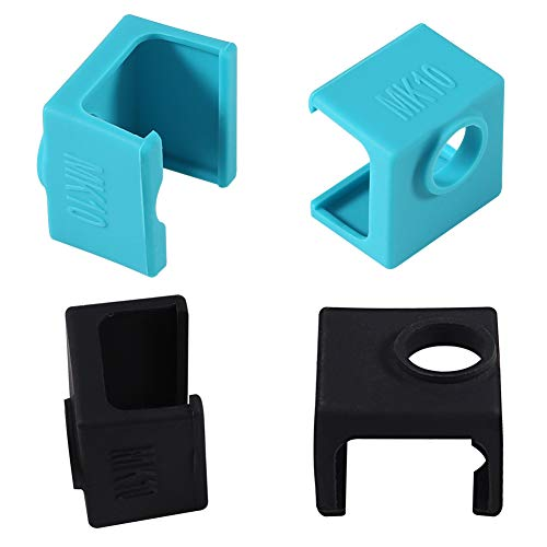 3D Printer MK10 Silicone Socks, Aokin MK10 Heater Block Silicone Cover for Wanhao Duplicator i3 Makerbot 2 QIDI Tech Flashforge, 4 Pcs, Blue/Black