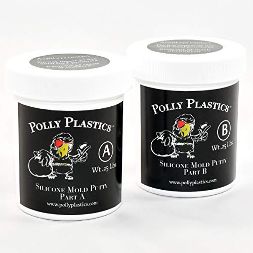 Polly Plastics Silicone Molding Putty - 1/2 Lb - for Moldable Plastic   Wax   Clay   Urethane and Epoxy Resins   Plaster