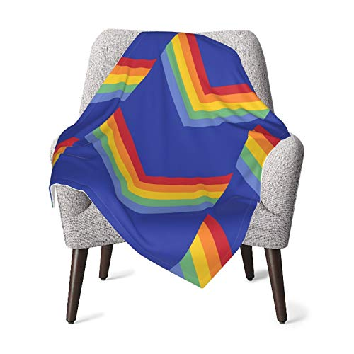 Rainbow Zigzag Baby Blanket Super Soft Printed Blanket Receiving Blanket for Boys Girls, Stroller, Crib, Newborns, Receiving