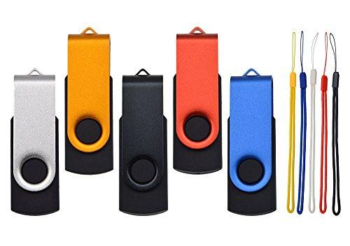 5 Piezas 32GB Pendrive Práctico Memorias USB 2.0, Kepmem Metal Llavero Flash Drives 32 GB Pen Drive, Portátil Giratoria Memoria Stick 32 Giga Almacenamiento de Datos para Almacenar Fotos, Música