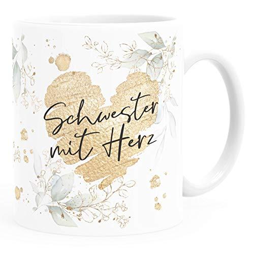 SpecialMe® Taza de café [texto deseado] con corazón – Profesiones sociales, familia, amigos, pequeño agradecimiento, regalo para hermanas, taza de cerámica, color blanco