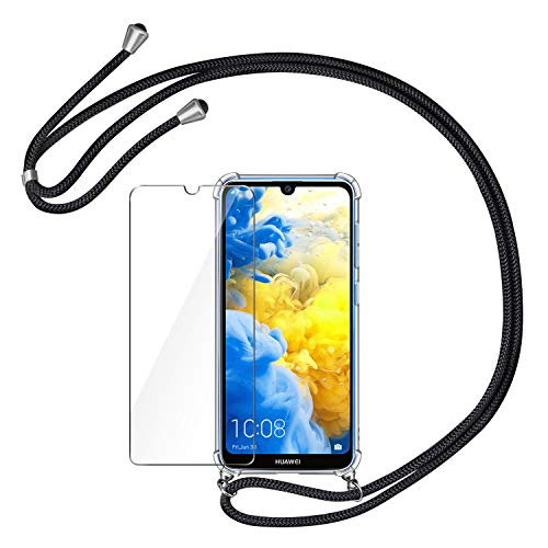 AROYI Handykette Handyhülle + Panzerglas Schutzfolie für Huawei Y5 2019 Hülle mit Kordel zum Umhängen Necklace Hülle mit Band Schutzhülle Transparent Silikon Acryl Case für Huawei Y5 2019 -Schwarz