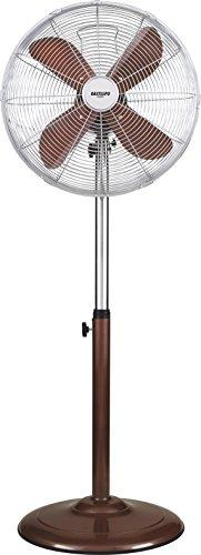 Bastilipo Palma Ventilatore da terra rotondo, 50 W, in acciaio inox, 3 velocità. marrone