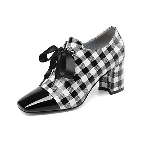 Gfphfm Damenschuhe, 2019 New Lace-Up Leather Ladies Schuhe Spring/Fall Deep Mouth Single Shoes Thick Heel Lattice High Heels