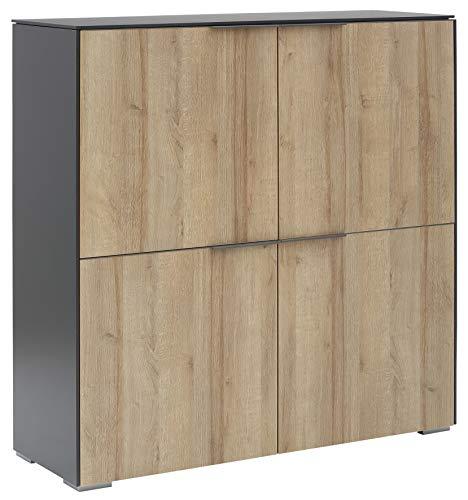 MAJA Möbel YOLO Highboard, Holzwerkstoff melaminharzbeschichtet, anthrazit - Riviera Anthrazit, 112,6 x 114,0 x 37,2 cm