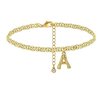 HOBT Gold Initial Anklet 14K Gold Plated Ankle Bracelets for Women Letter A Adjustable Summer Beach Foot Chain Gifts for Men Teen Girls