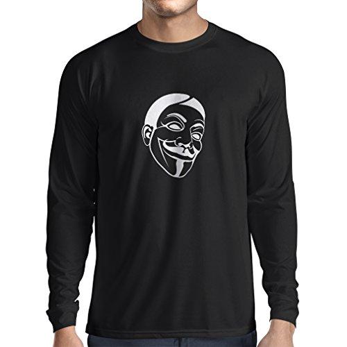 lepni.me T-Shirt Manches Longues Homme Combattants de la liberté anonymes, V pour Vendetta, Masque de Guy Fawkes (Small Noir Blanc)