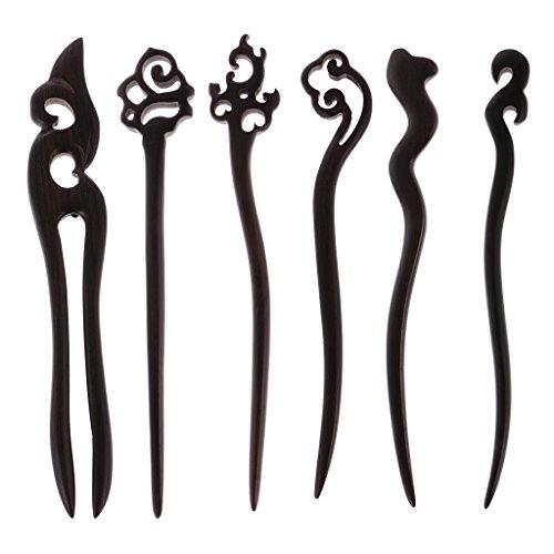 Sharplace 6X Damen Sandelholz Haar Stäbchen Haarstab Haarschmuck Pin - Gemischt