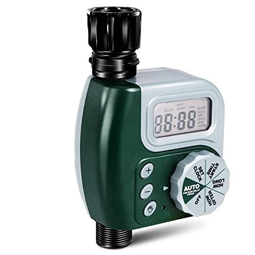 AWSAD Dispositivo de Temporizador de riego automático, Controlador de riego de riego temporizado, con Pantalla LCD Impermeable (Color : Green)