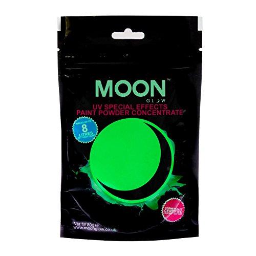 Moon Glow - 80g UV-Farbpuder Grün - Party-Puderkonzentrat mit Neon-Spezialeffekt- ergibt bis zu 8 Liter