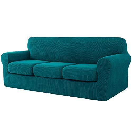 CHUN YI Sofabezug mit 3 Separatem Sitzkissenbezug Stretch Sofahusse Couchbezug Elastische Jacquard mit mehrere Farben (3-sitzer, Dunkeltürkis)